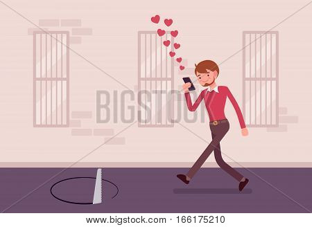 Young carefree smiling man walking down street, looking at the screen of his phone unseen a pit in front, distracted pedestrian, accident casued by mobile device, addicted mobile user, sending likes