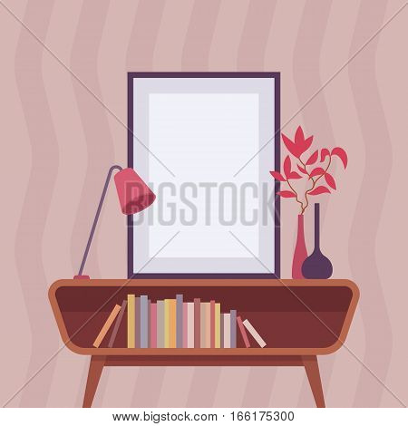 Retro interior with table lamp, vase, wooden storage sideboard, cabinet living room furniture, frame for copyspace and mock up. Cartoon flat-style interior illustration