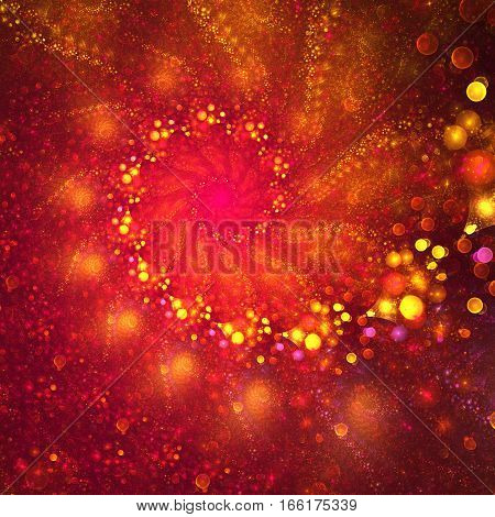 Abstract Glowing Red And Orange Bubbles On Black Background. Digital Fractal Art. 3D Rendering.