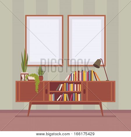 Retro interior original mid-century modern bookcase, potted plants, record console, withbooks, warm tones, two frames for copyspace and mock up. Cartoon flat-style interior illustration