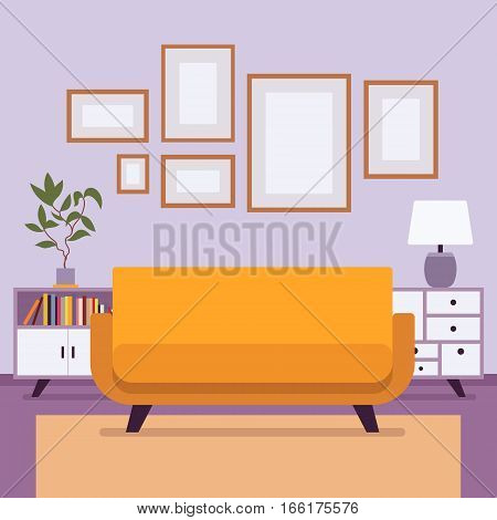 Retro interior of traditional living room, 70 feeling, with table lamp, vase, wooden storage sideboard, sofa, frames for copyspace and mock up. Cartoon flat-style interior illustration
