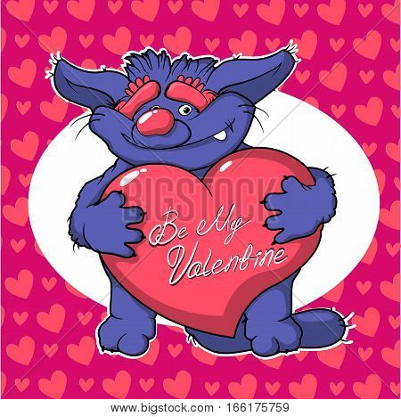 Cute cartoon monster in love holding a pink heart romantic congratulation postcard for Saint Be My Valentine