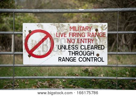 No Entry Sign warning of Military ranges