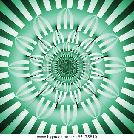 Abstract Exotic Flower. Psychedelic Mandala Design In Emerald Green And Black Colors. Fantasy Fracta