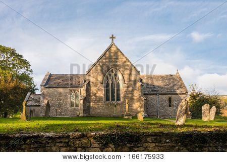 Old Village Church in the deserted village of Tyneham in DorsetUK