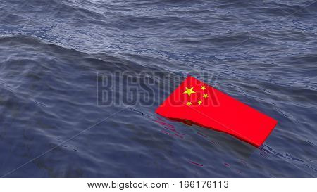 Chinese flag drowning in the ocean China crisis concept 3D illustration