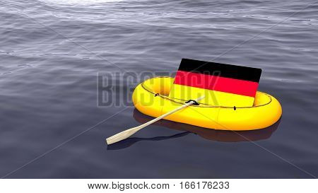 German flag swimming in a yellow rubber boat alone on the ocean save germany concept 3D illustration