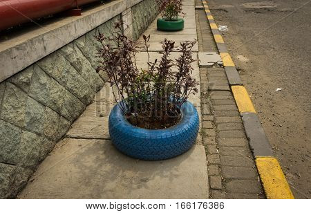 Rubber wheels used for tree pot at pedestrian photo taken in jakarta indonesia java