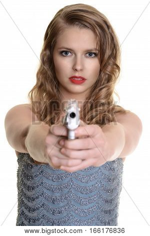 isolated 1940s woman pointing a handgun on white