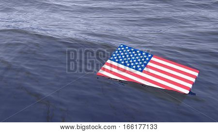 American flag drowning in the ocean crisis concept 3D illustration