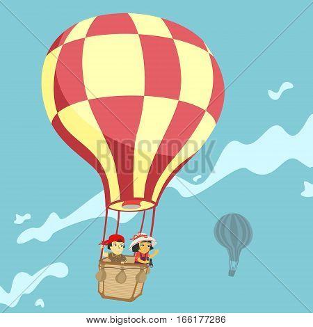 Children in a balloon Vector Illustration eps 8 file format