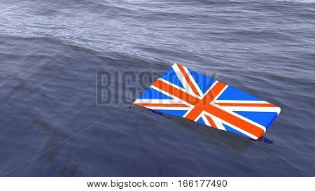 British flag drowning in the ocean brexit concept 3D illustration