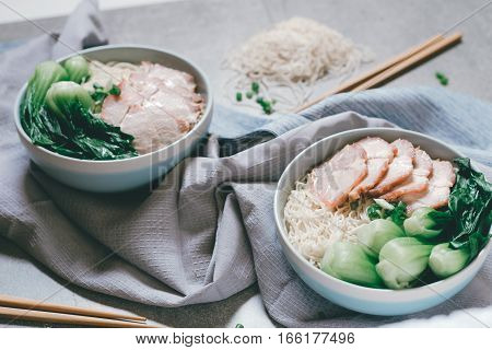 Delicious Egg Noodle With Red Pork And Vegetable