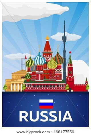 Travel Poster To Russia. Vector Flat Illustration.