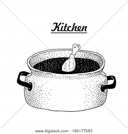 Hot pan isolated, saucepan, pan icon, cooking. Vector hand drawn illustration