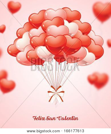 Feliz San Valentin spanish. Happy Valentine´s Day. Beautiful Heart Balloons. 3D illustration