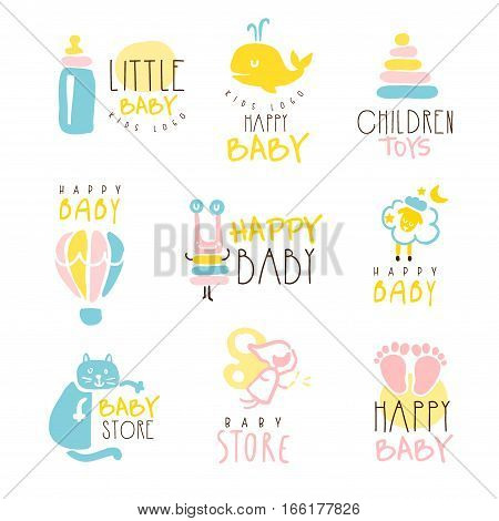 Kids Shop Promo Signs Series Of Colorful Vector Design Templates With Outlined Childish Toy Silhouettes. Baby Toys And Product Store Labels In Flat Bright Illustrations With Text.