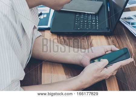 Business Technology Concept,business People Hands Use Smart Phone And Laptop