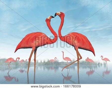 Pink flamingos courtship at the beach by daylight - 3D render