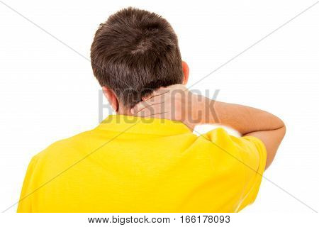 Young Man feels Neckache Isolated on the White Background