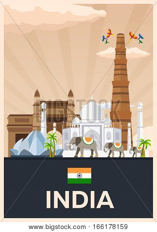 Travel Poster To India. Vector Flat Illustration.