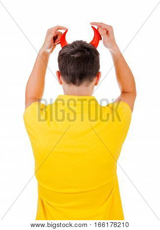 Rear View of a Man with Devil Horns Isolated on the White Background