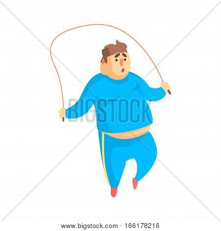 Funny Chubby Man Character Doing Gym Workout Jumping On Skipping Rope Illustration. Sport And Fat Guy Funny Simple Cartoon Drawing Isolated On White Background.