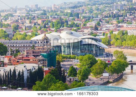 Tbilisi, Georgia - May 5, 2014: Public Service Hall in Tbilisi. Panoramic view of the city.
