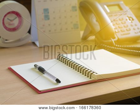 Notebook, Pen, And Phone On The Desk . The Operator Concept.