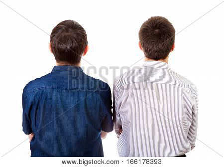 Rear View of Two Young Man Isolated on the White Background