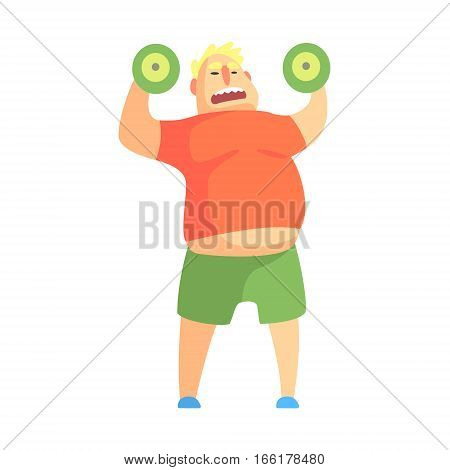 Funny Chubby Man Character Doing Gym Workout Weight Lifting Illustration. Sport And Fat Guy Funny Simple Cartoon Drawing Isolated On White Background.
