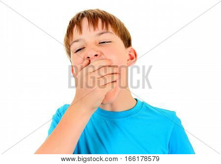 Kid Yawning Isolated on the White Background