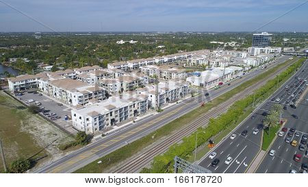 Aerial drone image of a housing development