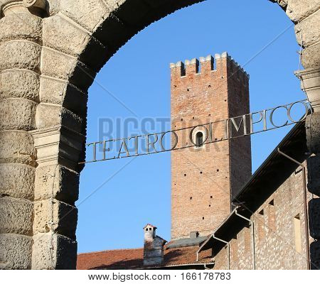 Entrance To The Olympic Theatre Called Teatro Olimpico And The M