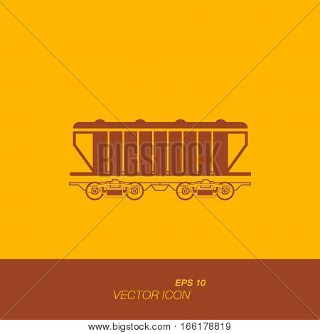 Freight train icon in flat style. The icons on the theme of logistics and transportation.o. Vector illustration EPS 10.