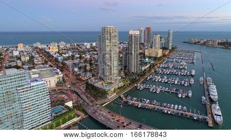 Aerial photo Miami Beach and marina landscape