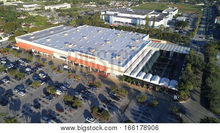 MIAMI, USA - FEBRUARY 5, 2017: Aerial image of Home Depot which is a home improvement and department store.