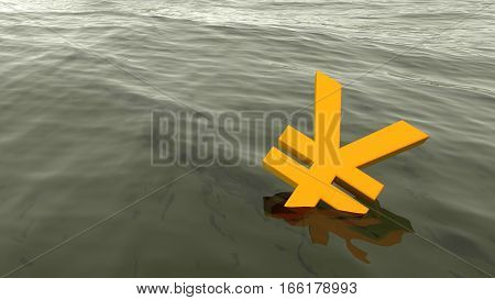 Chinese yuan drowning in the ocean economy crisis concept 3D illustration