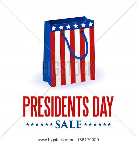 Presidents Day sale. USA patriotic background with text stripes and stars for posters flyers decoration. Shooping bag in colors of american flag Colorful vector illustration. Retail discount theme