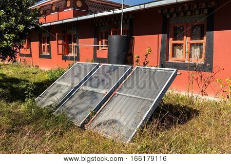 Solar panels in a Buddhist monastery Nepal.