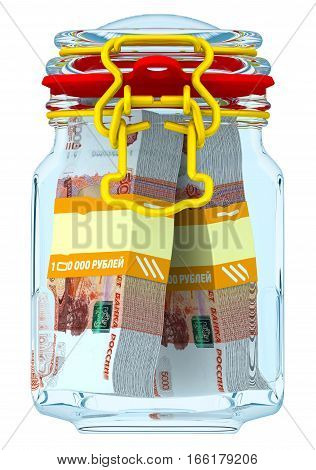 Closed glass Jar for canning with bundles of 5000 Russian rubles banknotes on a white surface. Financial concept. Isolated. 3D Illustration