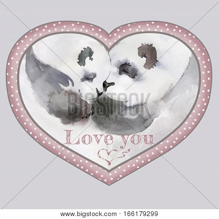Couple of kissing pandas in heart shaped frame with the sign