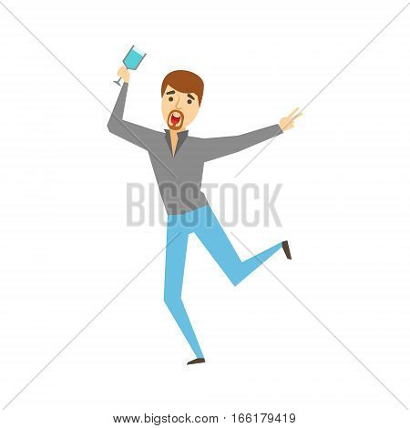 Man With Goatee Dancing With Wine Glass, Part Of Funny Drunk People Having Fun At The Party Series. Simple Flat Cartoon Character Smiling And Having Good Time Vector Illustration.