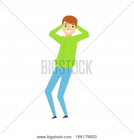 Guy In Green Shirt And eans Dancing, Part Of Funny Drunk People Having Fun At The Party Series. Simple Flat Cartoon Character Smiling And Having Good Time Vector Illustration.