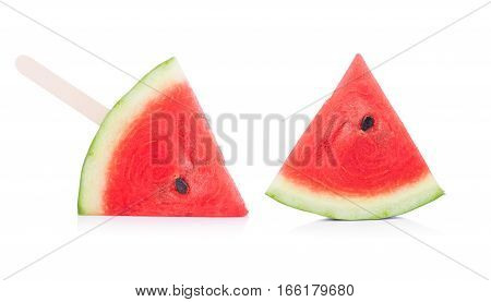 Closeup watermelon isolated on white background. food