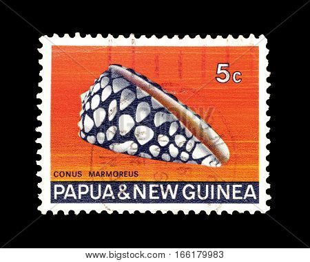 PAPUA NEW GUINEA - CIRCA 1968 : CCancelled postage stamp printed by Papua New Guinea, that shows Marbled Cone.