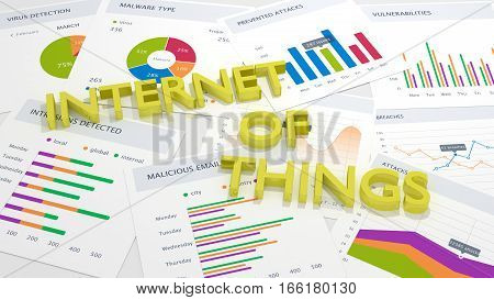The words internet of things in blue on a table with charts and attack statistics cybersecurity concept 3D illustration