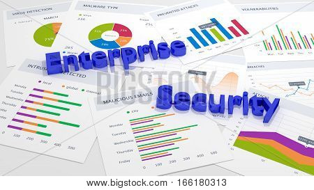 The words enterprise security in blue on a table with charts and attack statistics cybersecurity concept 3D illustration