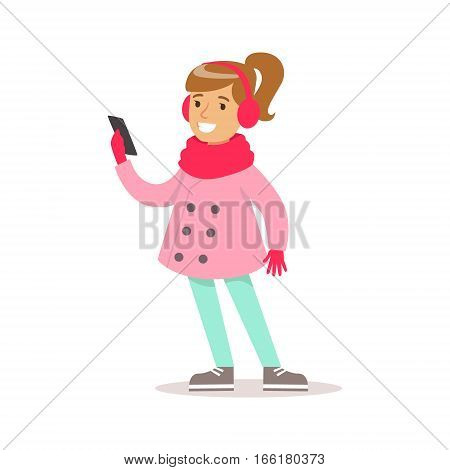 Happy Girl With Ponytail In Classic Girly Color Clothes Smiling Cartoon Character Looking At Smartphone. Traditional Female Kid Look And Behavior Vector Illustration.