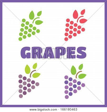 Grapes icon in a flat design. Grapes vector sign